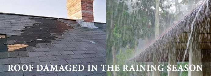 Roof damaged in the raining season